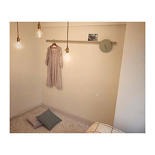 壁/天井/3灯吊り/裸電球/1k 1人暮らし女性/女の子の部屋...などのインテリア実例 - 2017-07-24 22:43:55