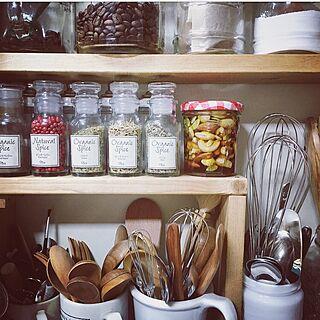 キッチン/カルディ/ナッツの蜂蜜漬け/ミックスナッツ/ボンヌママンの空瓶...などのインテリア実例 - 2016-09-26 22:12:58
