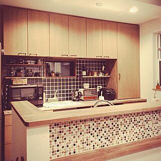 キッチン/カゴ収納/アイアン/カフェ風/造作食器棚/造作棚...などのインテリア実例 - 2016-04-14 20:37:54