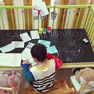 女性家族暮らし4LDK、パンチングボード IKEAのベビーベットに関するYukanenkoさんの実例写真