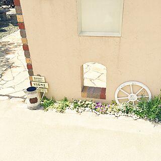 玄関/入り口/ポスト周り/ジニア/ガーデン雑貨/庭...などのインテリア実例 - 2017-06-13 15:36:39