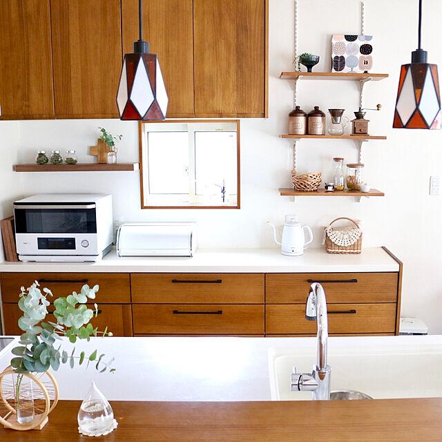 オーブンレンジ/漆喰壁/収納生活/南海プライウッド/収納...などのインテリア実例