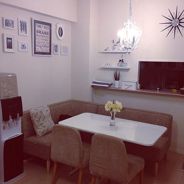 Lounge,花,照明,IKEA,ダイニング,ウォールステッカー,Francfranc,白黒,壁紙,ウォーターサーバー,いいね!ありがとうございます♪のインテリア実例   RoomClip (ルームクリップ)