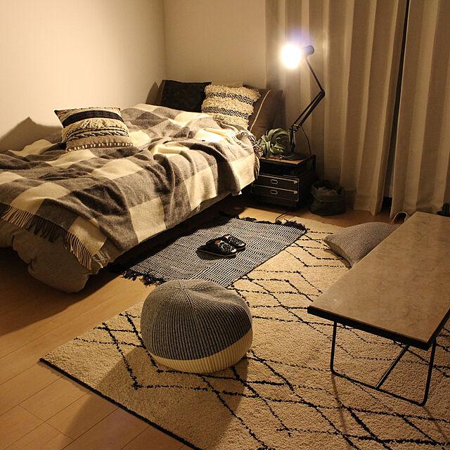 Bedroom,観葉植物,無印良品,ラグ,一人暮らし,unico,1K,IDEE,アングルポイズ,プフ,ANGLEPOISE,シルケボー,ベニワレン,ベニワレン風,10000人の暮らしのインテリア実例 | RoomClip (ルームクリップ)