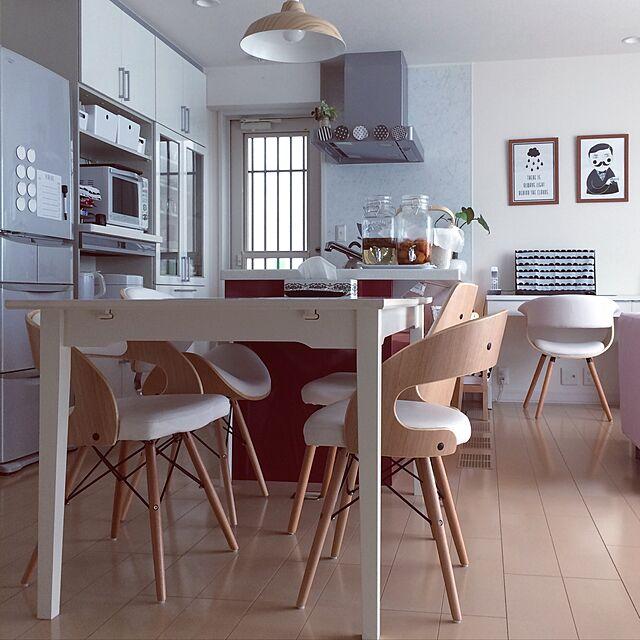 Kitchen,IKEA,モノトーン,生活感,ダイニングチェア,楽天で買ったもの,北欧も好き,モノトーンも好き,DEPEAPAのインテリア実例 | RoomClip (ルームクリップ)