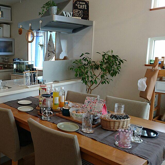 こどもと暮らす。/カフェ風/無印良品/ティータイム/ダイニングテーブル...などのインテリア実例