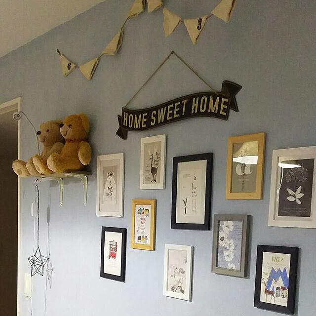 ダイソー,子供部屋,ニトリ,DIY棚,サンサンフー,壁ペイントDIYのインテリア実例 | RoomClip (ルームクリップ)