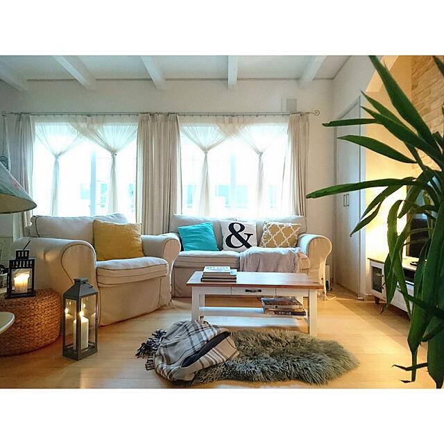 Lounge,キャンドル,IKEA,ニトリ,イエロー,ムートン,海外インテリアに憧れる,コースタルリビング,海外のカラーセンスに憧れる,青年の樹(ユッカ),コースタルスタイル,夕暮れのリビング,IKE BEHAR ショールのインテリア実例   RoomClip (ルームクリップ)