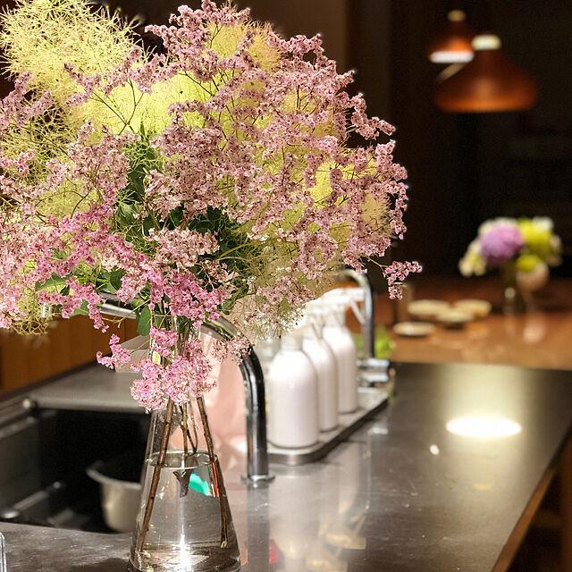 My Desk/新築/華やかになる/スモークツリー/花瓶のお花...などのインテリア実例