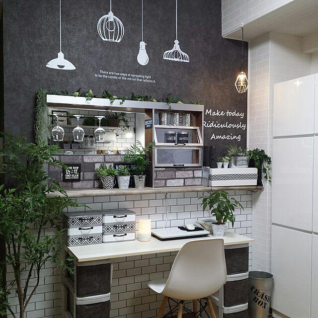 Lounge,無印良品,ダイソー,IKEA,アロマディフューザー,カフェ風,リメイク,セリア,キッチンカウンター,モノトーン,フェイクグリーン,手作りライト,壁紙屋本舗,カフェ風インテリア,サンサンフーのインテリア実例 | RoomClip (ルームクリップ)