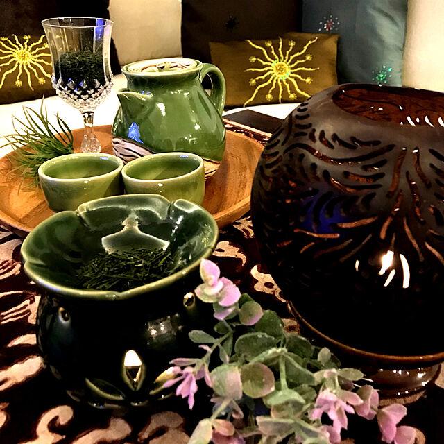 My Desk/お茶の葉/ジェンガラケラミック/癒しの時間/アロマポット...などのインテリア実例