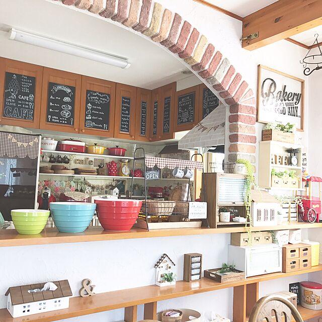 Overview,みせる収納,キッチンカウンター,COSTOCO,カフェ風インテリア,sulut!,cafe風,二世帯住宅,れんが,ダイソー♡,Swaro109 vintage,れんがアーチのインテリア実例 | RoomClip (ルームクリップ)