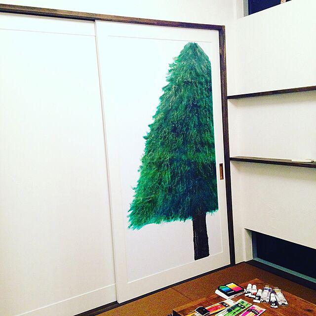 Bedroom/和紙畳/和室/手描きもみの木/クリスマスツリー...などのインテリア実例
