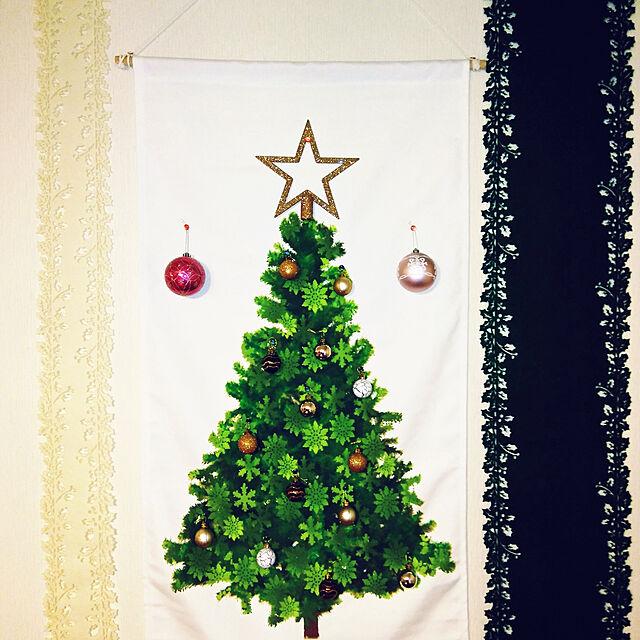 On Walls,マンション,ニトリ,クリスマス,賃貸,築28年,新商品買ったよ!,ニトリ2018クリスマスモニター,ニトリタペストリーツリーのインテリア実例 | RoomClip (ルームクリップ)