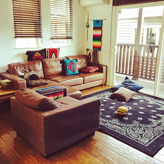 Lounge,ナチュラル,レザー,ソファ,ラグ,アメリカン,ウッド,ネイティブのインテリア実例 | RoomClip (ルームクリップ)