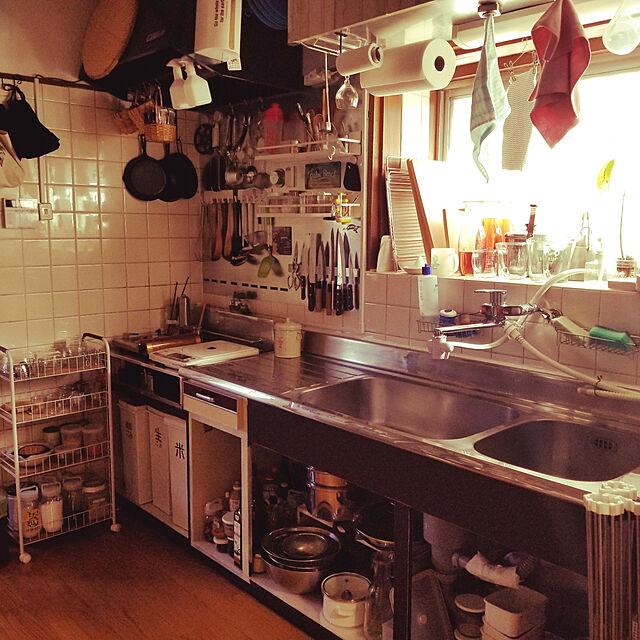 Kitchen/築30年/古い家/オープンキッチン/リメイクシート...などのインテリア実例