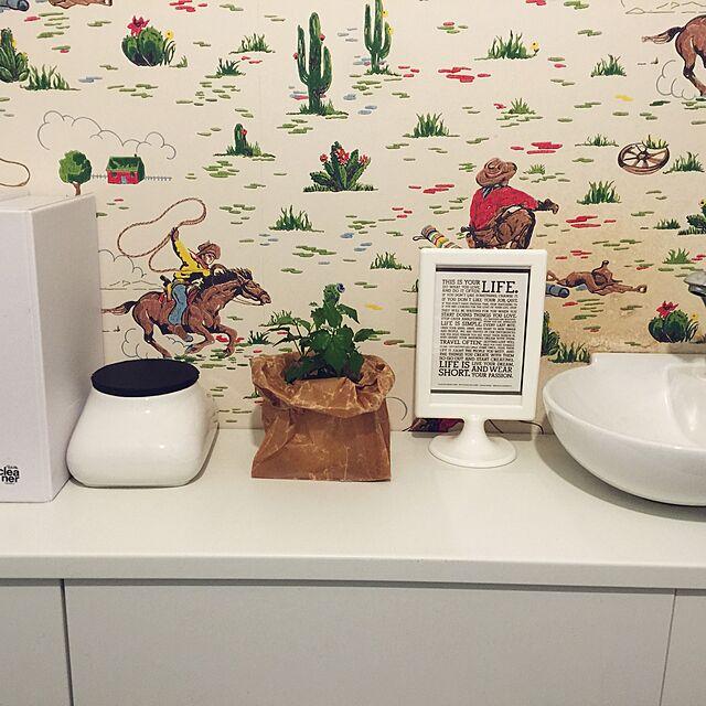 Bathroom/キャスキッドソン/白が好き/観葉植物のある部屋/アクセントウォール...などのインテリア実例
