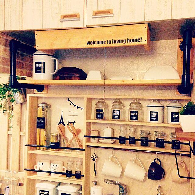 Kitchen,賃貸,調味料ラック,自作ラベル,イレクター,1×4で作る家具,築20年以上,吊り戸棚撤去,インスタやってます→syk92aaaのインテリア実例 | RoomClip (ルームクリップ)