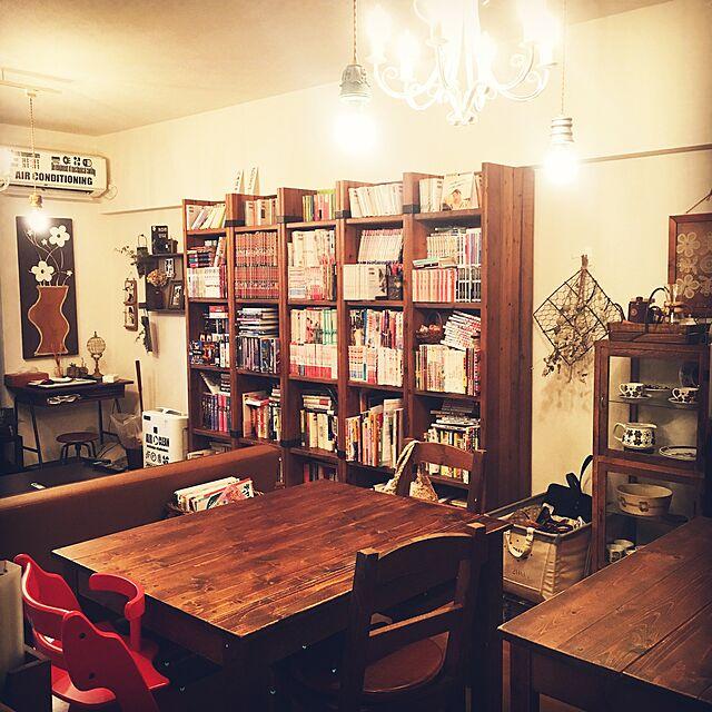 Lounge,シャンデリア,賃貸でも諦めない!,子どもと暮らす,カフェ風インテリアを目指して,大型本棚,いろいろなインテリアが好きのインテリア実例 | RoomClip (ルームクリップ)