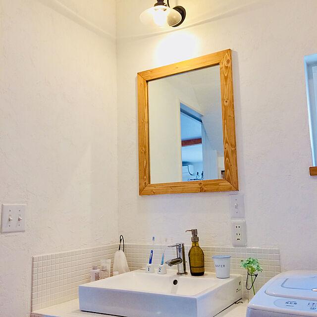Bathroom/アメリカンスイッチ/洗面所/漆喰壁DIY/漆喰壁...などのインテリア実例