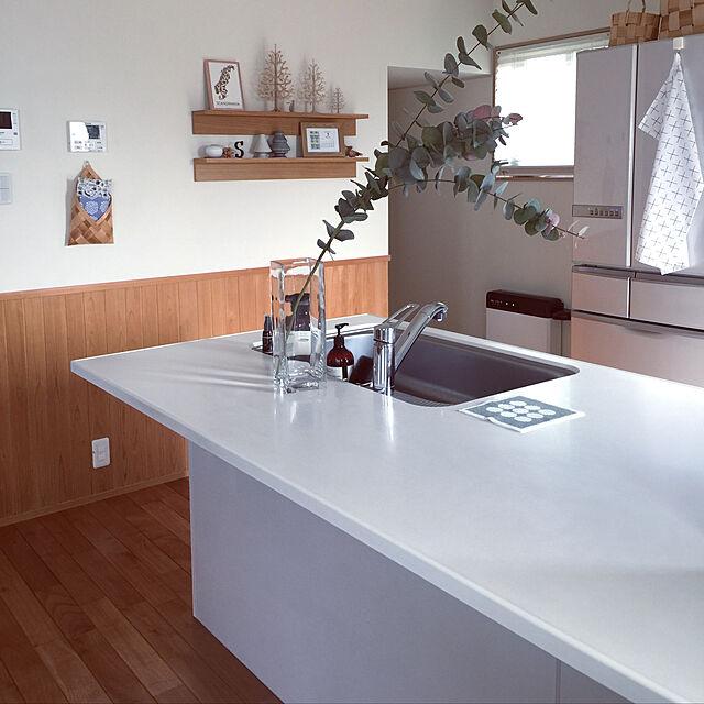 Kitchen,キッチンカウンター,アクタス,腰壁,タカラスタンダード,北欧好き,ユーカリフェイク,子供のいる暮らし,エーデルのインテリア実例   RoomClip (ルームクリップ)