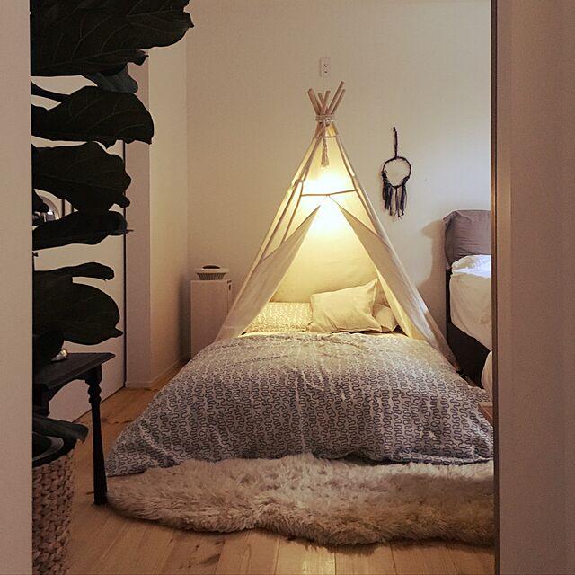 Bedroom,ナチュラル,IKEA,子供部屋,寝室,ハンドメイド,シンプル,カシワバゴム,ティピのインテリア実例   RoomClip (ルームクリップ)