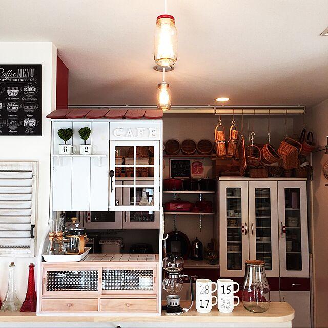 Kitchen,ナチュラル,DIY,カフェ風,ニトリ,おうちカフェ,おうちcafe,カフェ風インテリアのインテリア実例   RoomClip (ルームクリップ)