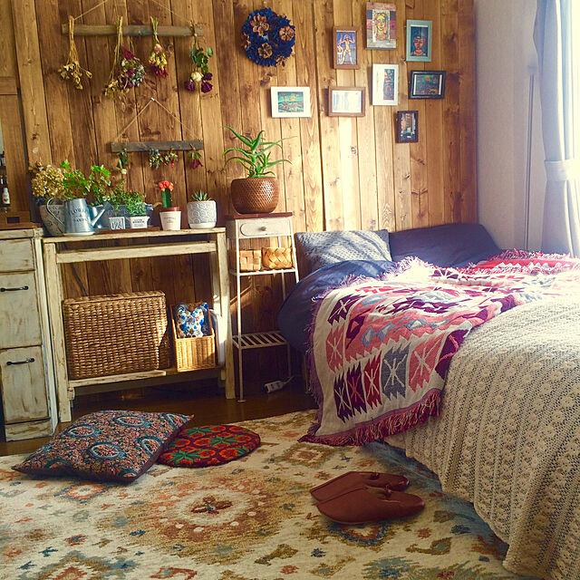 Bedroom/一人暮らし/ベッドルーム/キリム/バターミルクペイント...などのインテリア実例