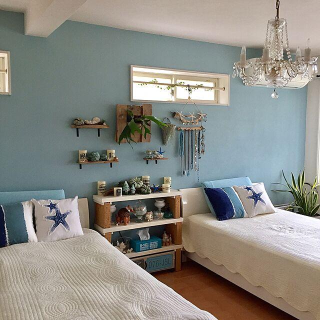 Bedroom,100均,シーグラス,流木,ROOMBLOOM,WOODPRO足場板,NO GREEN NO LIFE,グリーンのある暮らし,流木リメイク,西海岸インテリア,沢山のいいねとフォローをありがとう,毎日の暮らしを楽しむのインテリア実例 | RoomClip (ルームクリップ)