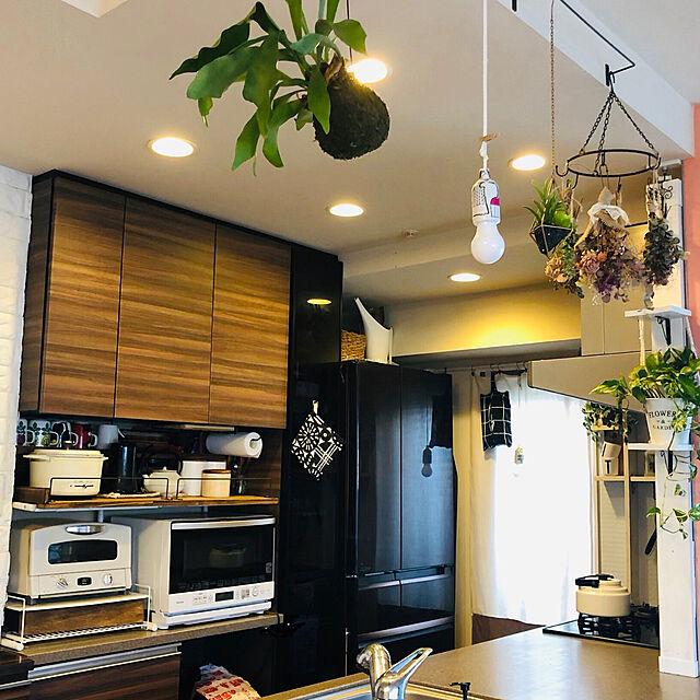 ラブリコ棚/アラジントースター/山善/キャセロールミニグリル鍋/キッチン背面棚DIY...などのインテリア実例
