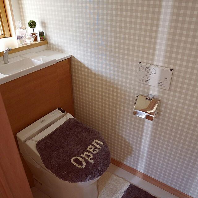 Bathroom/チェック柄/マノクラフト壁紙...などのインテリア実例