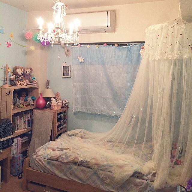 Bedroom,子供部屋,天蓋ベッド,ドット柄,ウォールスッテカー,子供部屋 壁,シャンデリアに憧れて…,ペーパーポンポン 手作り,子供部屋 ,子供部屋の雑貨,とりさん,子供部屋の飾り,ペンキ塗り替えました,コンテスト子供部屋,コンテスト参加しちゃった♡のインテリア実例   RoomClip (ルームクリップ)