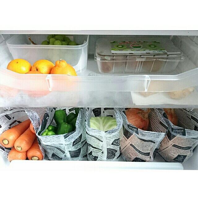 キッチン/冷蔵庫の中/野菜室/水切りゴミ袋/キャンドゥ...などのインテリア実例 - 2016-06-13 11:46:00