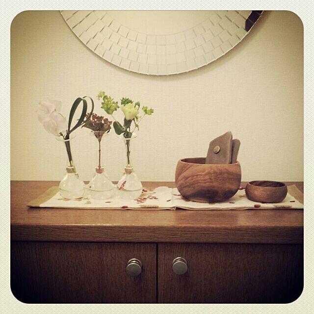 玄関/入り口/フラワーベース/植物/IKEAミラー/maduのインテリア実例 - 2014-01-19 17:56:42