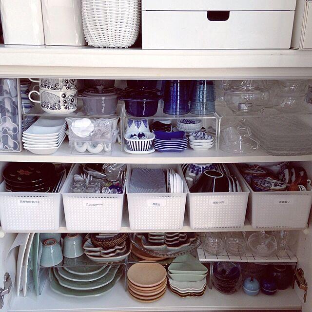 Kitchen,無印良品,食器棚,北欧食器,キッチン収納,カウンター下収納,整理収納部,ジェンガラ,セラドン,やっぱりSSS。のインテリア実例 | RoomClip (ルームクリップ)