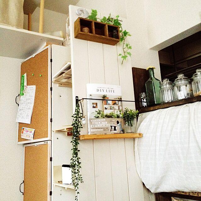 My Shelf,カラーボックス,DIY,セリア,賃貸,コルクボードリメイク,扉DIY,転写シート,DIYLIFE,すのこリメイクのインテリア実例 | RoomClip (ルームクリップ)