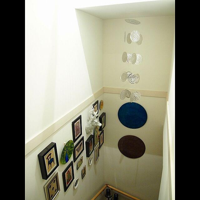 壁/天井/ジョンデリアン/ディスプレイ/階段の壁のみ白のインテリア実例 - 2014-02-22 22:45:50