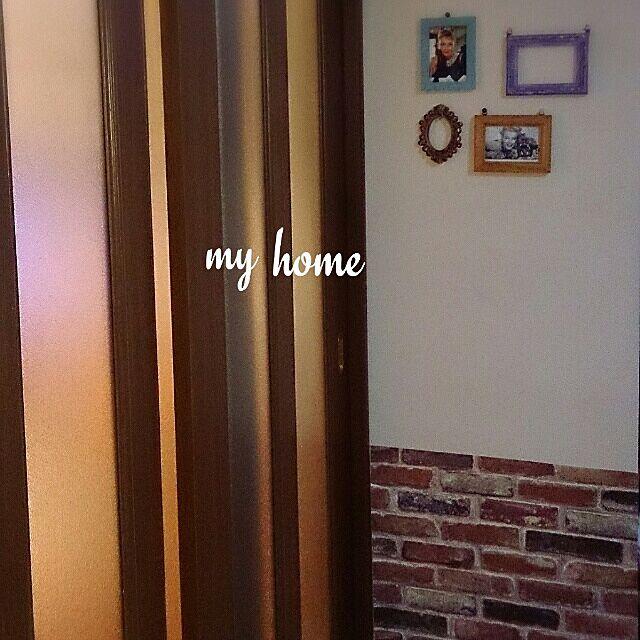 壁/天井/レンガ柄壁紙/壁紙を貼りました/レンガの壁/フレーム...などのインテリア実例 - 2014-02-11 22:41:09