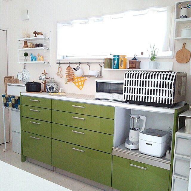 Kitchen,北欧雑貨,ストリングシェルフ,キッチン背面のインテリア実例 | RoomClip (ルームクリップ)