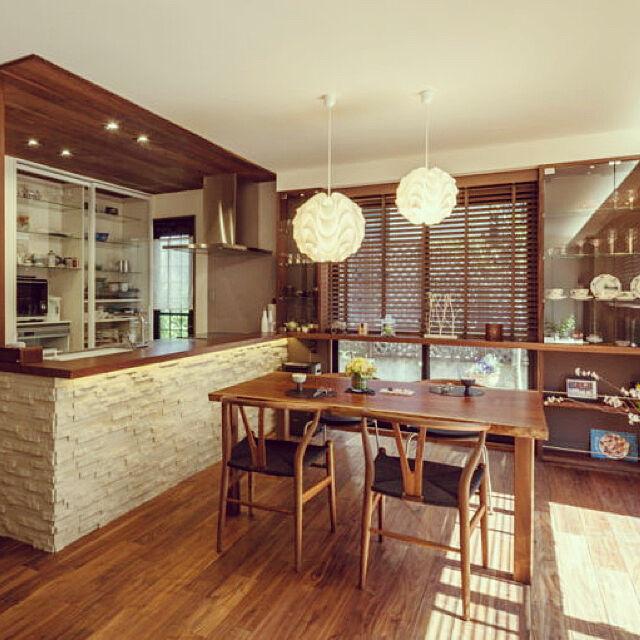 Kitchen,間接照明,北欧,yチェア,ウォールナット,モザイクタイル,無垢材,レクリント,無垢フローリング,PP701,無垢ダイニングテーブルのインテリア実例 | RoomClip (ルームクリップ)