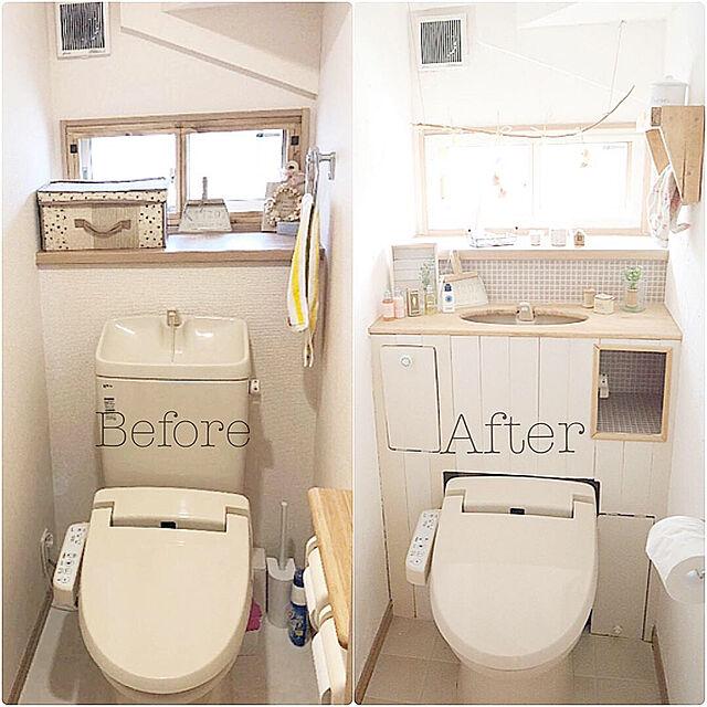 Bathroom,DIY,カフェ風,ナチュラルインテリア,漆喰壁,漆喰,板壁DIY,建売住宅,タンクレストイレ,漆喰壁DIY,日当たり悪いのインテリア実例   RoomClip (ルームクリップ)
