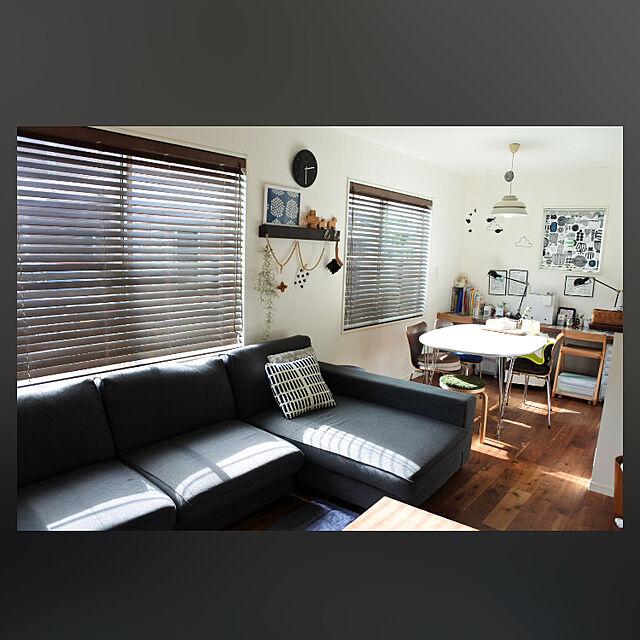 Overview,無印良品,リビングダイニング,セブンチェア,ウッドブラインド,ソファーまわり,ブログやってます♪,プケッティ,ブラックウォールナットの無垢材,子供と暮らす。,ARTEK SIENA,無印良品 壁に付けられる家具,写真って難しい…,北欧インテリアに憧れる,アルモニアソファー,フリッツハンセン テーブルのインテリア実例 | RoomClip (ルームクリップ)