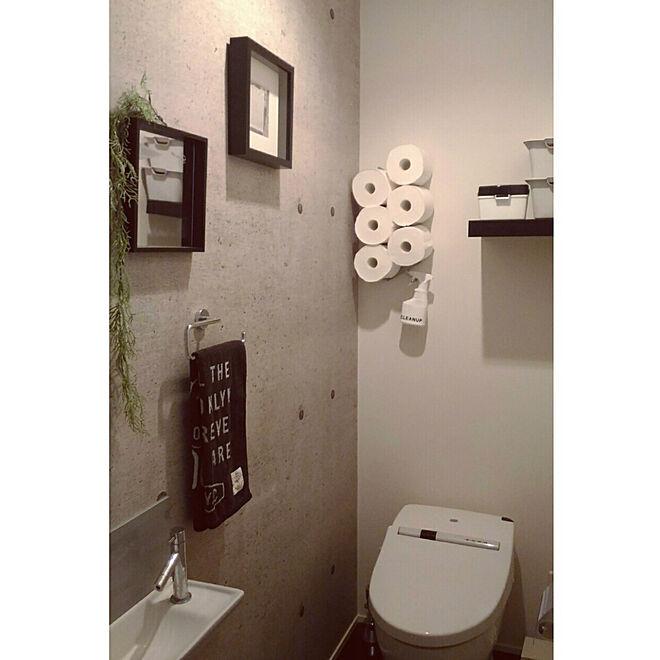 バス/トイレ/壁紙屋本舗/コンクリート風壁紙/トイレの壁/トイレットペーパー見せる収納...などのインテリア実例 - 2018-03-18 22:40:07