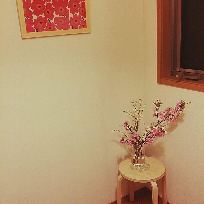 玄関/入り口/IKEA/スツール/桃の花/花のある暮らし...などのインテリア実例 - 2016-03-20 01:04:06