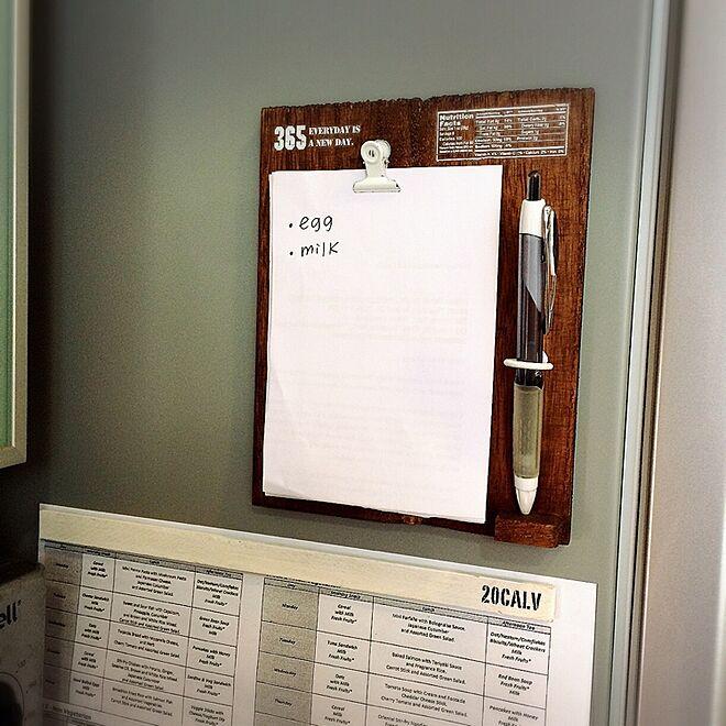 キッチン/冷蔵庫のマグネット/ダイソー/ダイソー木材/セリア...などのインテリア実例 - 2016-02-02 15:06:09