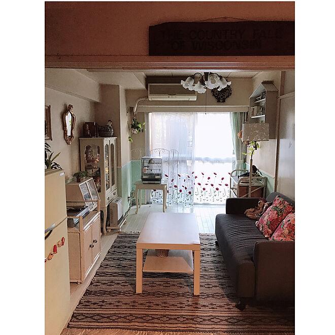 ニトリのジュートラグ/IKEAのテーブル/IKEAのソファー/家具のペイントリメイク/床のペイントリメイク...などのインテリア実例 - 2021-02-06 17:48:21