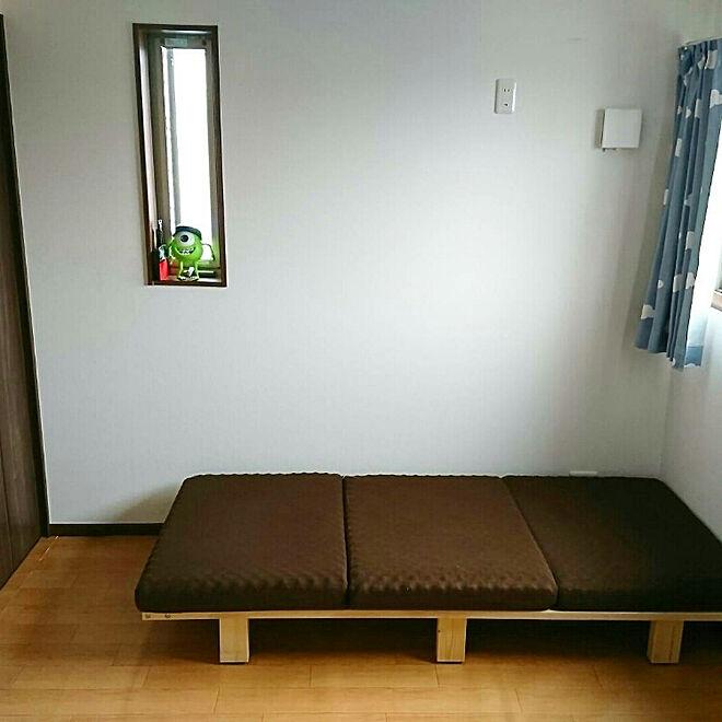 ベッド周り/すのこベッド/3つ折りマットレス/ロウヤ家具/組立家具...などのインテリア実例 - 2017-10-31 10:37:34
