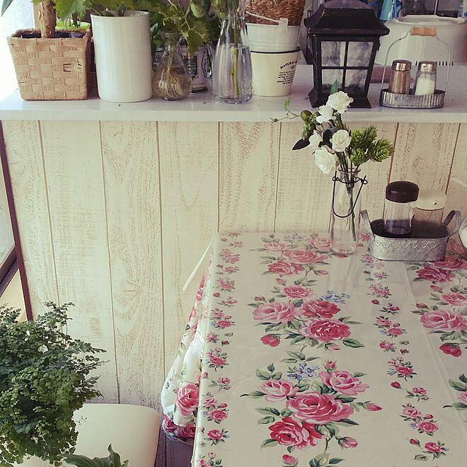 キッチン/カウンターテーブル/薔薇柄のインテリア実例 - 2016-08-06 17:39:25