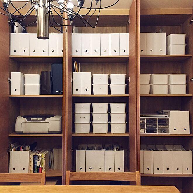 隠す派/山善収納部/シンプル/ホワイト/ファイルケース...などのインテリア実例 - 2017-02-22 21:48:12