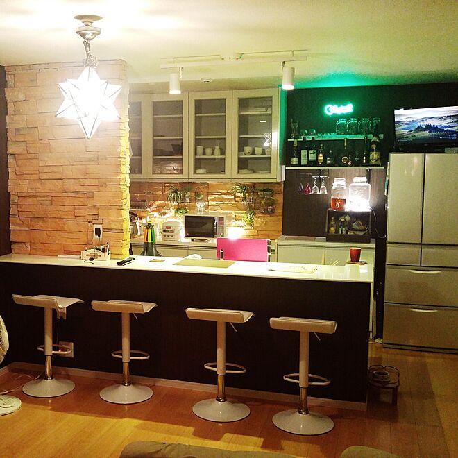 キッチン/DIY/セリア/石貼り/石壁...などのインテリア実例 - 2016-07-21 01:21:55